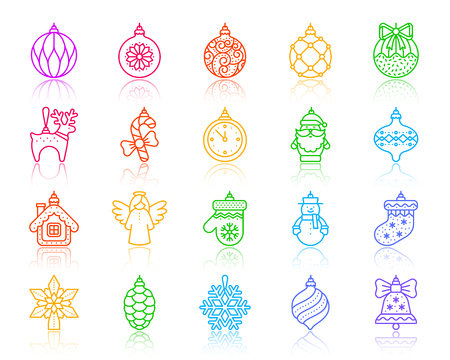 Xmas tree decorations thin line icon set. Outline vector sign kit of hang christmas ball. Ornamental linear icons includes snowflake, bell, artificial snow. Simple xmas tree decorsymbol on white
