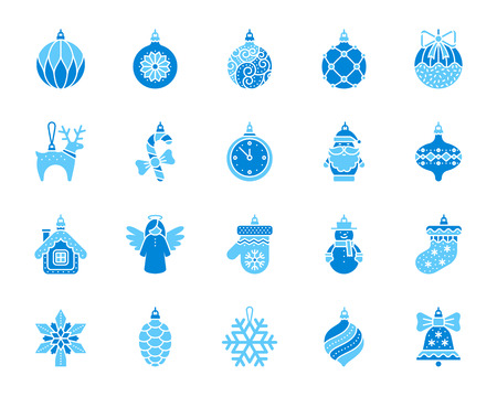 Xmas Tree Decorations icon set. Isolated on white sign kit of hang christmas ball. Pictograms of ornate mitten, snowman toy, hanging sock. Simple xmas tree decorations contour symbol. Vector icons
