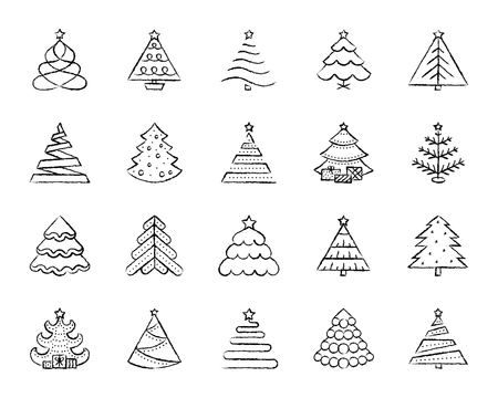 Christmas Tree charcoal icon set. Grunge outline sign kit of xmas. Stylized linear icons of artificial snow spruce present box, branch fir. Hand drawn simple christmas tree symbol. Vector Illustration