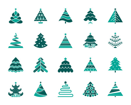 Christmas Tree silhouette icons set. Isolated on white web sign kit of stylized spruce. Fir Farm pictogram fir farm, decoration, pine. Simple christmas tree contour symbol. Vector Icon shape for stamp