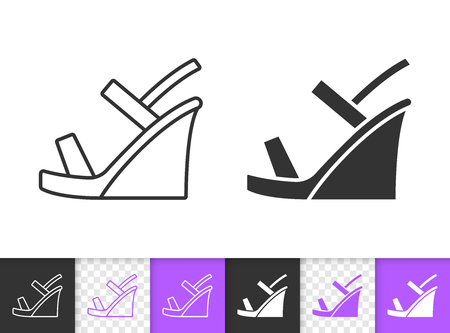 Women Shoes black linear and silhouette icons. Thin line sign dress pump. Fashion Footwear outline pictogram isolated white, transparent background. Vector Icon shape Women Shoes simple symbol closeup