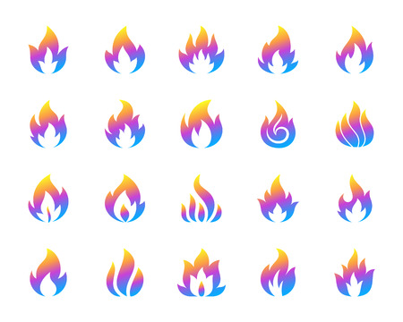 Fire silhouette icons set. Isolated on white web sign kit of bonfire. Flame pictogram collection includes fiery hell, combustion fuel, glow Modern gradient simple contour symbol Fire vector icon shape