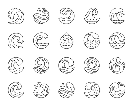 Wave thin line icons set. Outline web sign kit sea. Splash linear icon collection includes marine storm, tsunami tide, curve shape. Simple wave black contour symbol isolated white. Vector Illustration Illustration