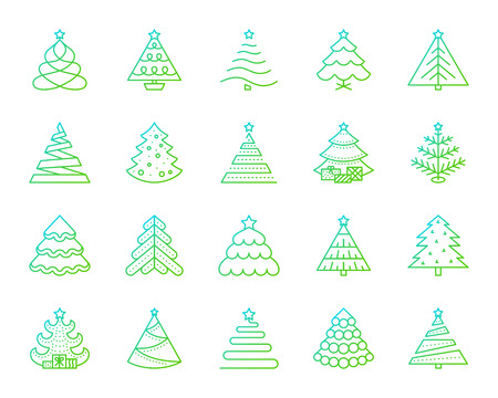 Christmas Tree thin line icons set. Outline vector web sign kit of stylized spruce. Fir Farm linear icon pine cone, merry xmas, spruce. Modern gradient simple christmas tree symbol isolated on white 일러스트