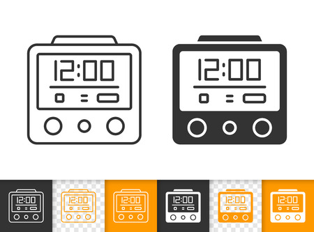 Alarm Clock black linear and silhouette icons. Thin line sign of digital watch. Time outline pictogram isolated white color, transparent background. Vector Icon shape Alarm Clock simple symbol closeup