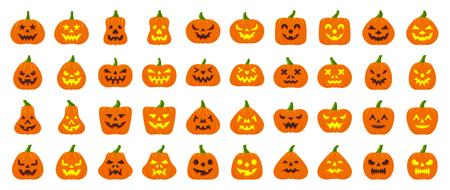 Jack-O-Lantern flat icons set Web sign kit pumpkin face Halloween pictogram collection angry eyes, creepy party decoration Simple jack-o-lantern cartoon icon symbol isolated white. Vector Illustration Ilustracje wektorowe