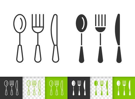 Cutlery black linear and silhouette icons. Thin line sign of eating tools. Spoon Fork Knife outline pictogram isolated on white, transparent background. Vector Icon shape Cutlery simple symbol closeup Vectores