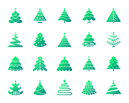 Christmas Tree silhouette icons set. Isolated on white web sign kit of stylized spruce. Fir Farm pictogram collection pine, fir, xmas spruce. Simple contour symbol. Christmas Tree vector icon shape 일러스트
