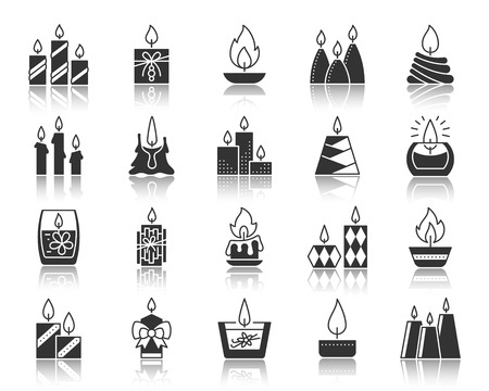 Candle Flame silhouette icons set. Monochrome sign kit church decoration. Memorial Fire pictogram home cozy, party decor, glass jar. Simple vector black symbol. Candle Flame shape icon with reflection