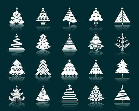 Christmas Tree silhouette icons set. Isolated web sign stylized spruce kit. Fir Farm pictogram collection geometric fir, pine. Simple christmas tree contour symbol reflection. White vector icon shape 일러스트