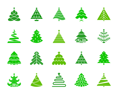 Christmas Tree silhouette icons set. Isolated web sign kit of stylized spruce. Fir Farm pictograms includes star decoration, magic holiday, artificial snow. Simple christmas tree symbol. Vector Icon
