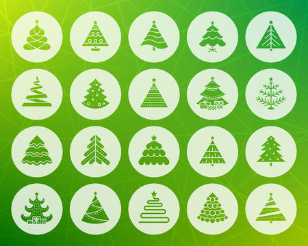 Christmas Tree icons set Sign kit stylized spruce Fir Farm pictogram collection pine cone, merry xmas, winter spruce Simple christmas tree vector symbol Icon shape carved from circle colorful backdrop 일러스트