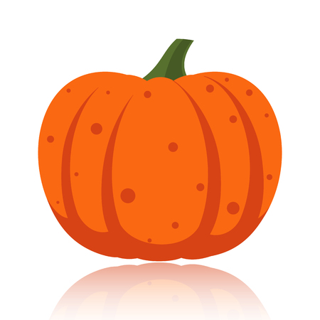 Pumpkin flat icon. Sign of halloween. Thanksgiving pictogram fall farm harvest, closeup squash vegetable. Simple gourd cartoon icon isolated on white glossy surface. Pumpkin symbol vector illustration Vettoriali