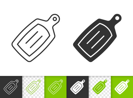 Cutting Board black linear and silhouette icons. Thin line sign of kitchen utensils. Wooden outline pictogram isolated, transparent background. Vector Icon shape. Cutting Board simple symbol closeup