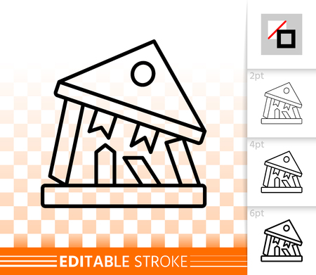 Bank Collapse thin line icon. Outline web sign of crash. Bankrupt linear pictogram different stroke width. Simple vector symbol, transparent background. Bank Collapse editable stroke icon without fill