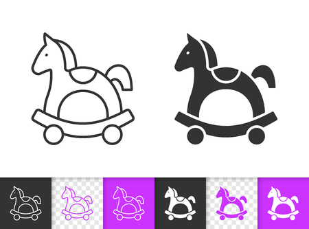 Horse Rocking black linear and silhouette icons. Thin line sign of wooden toy. Pony outline pictogram isolated on white, transparent background. Vector Icon shape. Horse Rocking simple symbol closeup Stock Illustratie
