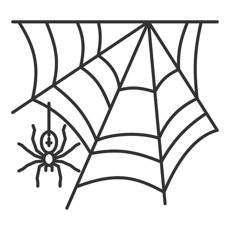 Spider web thin line icon. Cobweb vector isolated on white linear symbol with different stroke width. Spiderweb black outline sign halloween. Editable stroke icon without fill Simple graphic pictogram