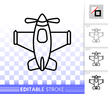 Airplane Toy thin line icon. Outline web plane sign. Kids Play linear pictogram with different stroke width. Simple vector symbol, transparent background Airplane Toy editable stroke icon without fill