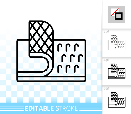 Velcro Fastener thin line icon. Outline web sign hook. Loop Texture linear pictogram different stroke width. Simple vector symbol transparent backdrop Velcro Fastener editable stroke icon without fill