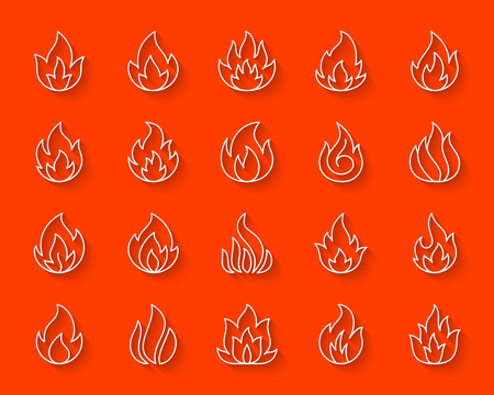 Fire paper cut line icons set. 3D web sign bonfire kit. Flame linear pictogram collection includes temperature, furnace, warm power. Simple fire vector paper carved icon shape. Material design symbol Illustration