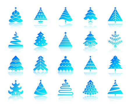 Christmas Tree icons set with reflection. Web sign kit of stylized spruce. Fir Farm vector pictogram, winter spruce, pine geometric shape. Gradient contour simple christmas tree icon isolated on white Illustration