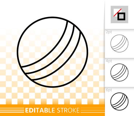 Ball thin line icon. Outline web sign of kids toy. Summer Play linear pictogram with different stroke width. Simple vector symbol, transparent background. Design Ball editable stroke icon without fill