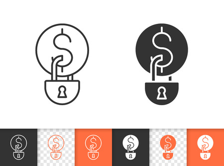 Money Locked black linear and silhouette icons. Thin line sign of coin padlock. Finance Blocked outline pictogram isolated on white, transparent. Vector Icon shape. Money Locked simple symbol closeup