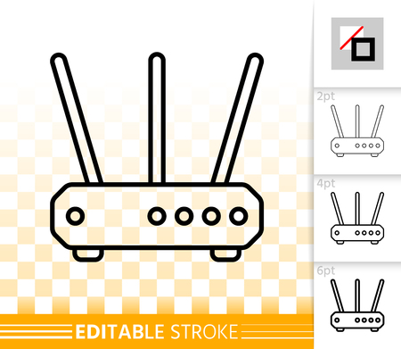 Wifi Router thin line icon. Outline web sign modem. Wireless Internet linear pictogram different stroke width. Simple vector symbol, transparent backdrop. Wifi Router editable stroke icon without fill Illustration
