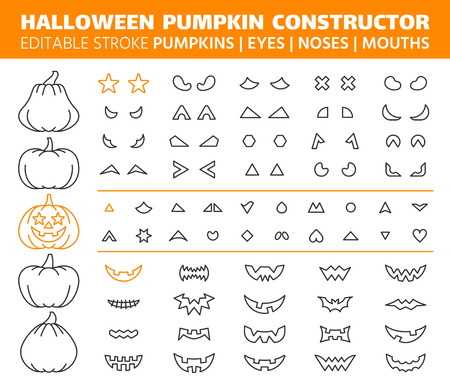 Halloween pumpkin thin line icons set. Outline sign kit face constructor. Character creator linear icon eyes nose mouth. Editable stroke without fill. Jack o lantern simple contour gourd vector symbol
