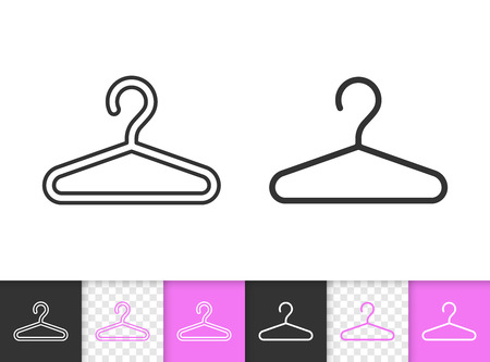 Hanger black linear and silhouette icons. Thin line sign of fashion. Cloakroom outline pictogram isolated on white, color, transparent background. Vector design Icon shape Hanger simple symbol closeup