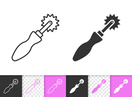 Tracing Wheel black linear and silhouette icons. Thin line sign sewing roller. Sew Tool outline pictogram isolated white, transparent background. Vector Icon shape. Tracing Wheel simple symbol closeup Illustration