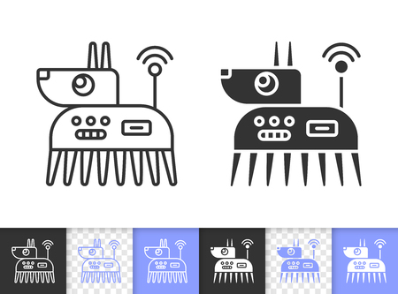 Robot Dog black linear and silhouette icons. Thin line sign west highland white terrier. Ai outline pictogram isolated white, transparent background. Vector Icon shape. Robot Dog simple symbol closeup