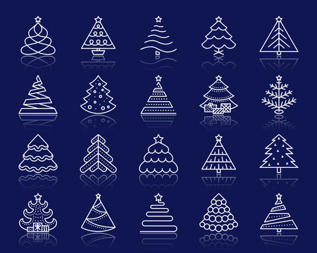 Christmas Tree thin line icons set. Outline web sign kit of stylized spruce. Fir Farm linear icon winter spruce, fir, pine. Simple christmas tree white contour symbol reflection. Vector Illustration