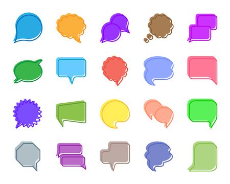 Sprachblase Silhouette Symbole gesetzt. Isoliertes Zeichenset des Comic-Tell. Chat Kommunikation monochromes Piktogramm sozialer Kommentar, Ballonkreis. Einfaches Sprachblasen-Kontursymbol Vektor-Symbol-Formstempel Vektorgrafik