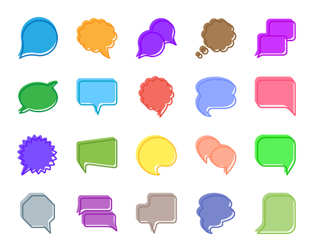 Speech Bubble silhouette icons set. Isolated sign kit of comic tell. Chat Communication monochrome pictogram social comment, balloon circle. Simple speech bubble contour symbol Vector Icon shape stamp