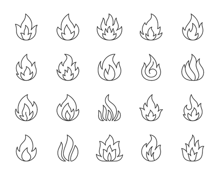 Fire thin line icons set. Outline web sign kit of bonfire. Flame linear icon collection includes game fireball, ignite energy, explosion. Simple fire Vector black contour symbol isolated on white Illustration