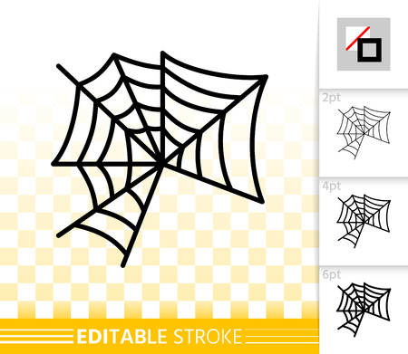 Spider web thin line icon. Cobweb vector linear symbol with different stroke width. Spiderweb outline of halloween. Editable stroke sign without fill. Spiderweb simple graphic pictogram on transparent