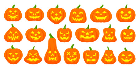 Jack O Lantern flat icons set. Web sign kit pumpkin face. Halloween pictogram collection includes scary, emotion character. Simple jack o lantern cartoon icon symbol isolated white Vector Illustration Vetores