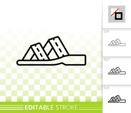 d6534d6994554 Women Shoes thin line icon Outline sign of summer sandals Low Sole linear  pictogram with different