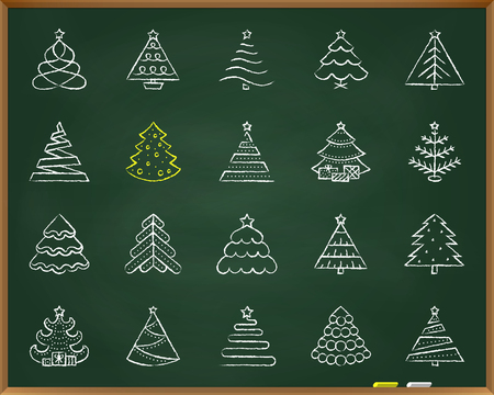 Christmas Tree chalk icons set. Outline web sign kit of stylized spruce. Fir Farm linear icon stand fir farm. Hand drawn by pastel crayon simple christmas tree symbol on chalkboard vector Illustration