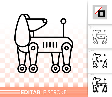 Robot Dog thin line icon. Outline web sign of spaniel. Android linear pictogram with different stroke width. Simple vector symbol, transparent background. Robot Dog editable stroke icon without fill