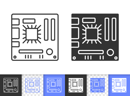 Motherboard black linear and silhouette icons. Thin line sign of circuit. Board outline pictogram isolated on white, color, transparent background. Vector Icon shape. Motherboard simple symbol closeup Çizim