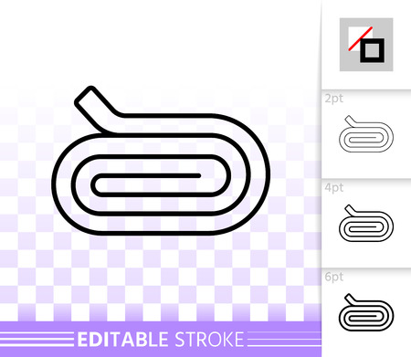 Cloth Roll thin line icon. Outline web sign of fabric. Roller linear pictogram with different stroke width. Simple vector symbol, transparent background. Cloth Roll editable stroke icon without fill