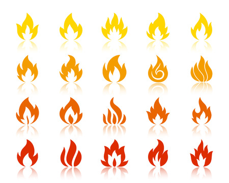 Fire silhouette icon set. Bonfire sign kit. Flame monochrome pictogram collection includes gas, blaze, flash, torch. Simple campfire contour symbol with reflection. Vector icon shape isolated on white