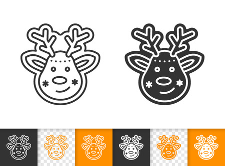 Gingerbread black linear and silhouette icons. Thin line sign of deer. Xmas outline pictogram isolated on white, transparent background. Vector Icon shape. Cookie template simple symbol closeup