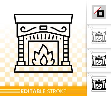 Fireplace thin line icon. Outline web christmas time sign. Open Fire linear pictogram with different stroke width. Flame simple vector transparent symbol. Fireside editable stroke icon without fill Stockfoto - 112310012