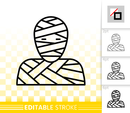 Mummy Mask thin line icon. Outline halloween sign. Monster linear pictogram with different stroke width. Simple vector symbol, transparent background. Carnival dress editable stroke icon without fill Vectores