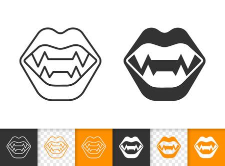 Iconos de glifos y lineales negros de dientes de vampiro. Signo de línea delgada de mandíbula de Drácula. Pictograma de contorno divertido de Halloween aislado sobre fondo blanco, transparente. Icono de vector de colmillos de vampiro simple símbolo closeup