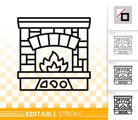 Fireplace thin line icon. Outline web christmas time sign. Open Fire linear pictogram with different stroke width. Simple vector transparent symbol. Fireside editable stroke icon without fill