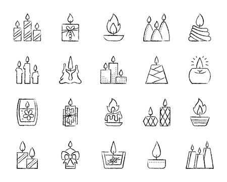 Candle charcoal icons set. Grunge outline sign kit of church decoration. Linear icons of memorial fire, christmas, halloween light, thanksgiving day. Hand drawn simple flame symbol Vector Illustration